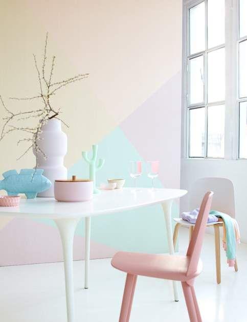 Pin von kizzy kizziar auf diy geometric art ideas for Pastellfarben wandfarbe