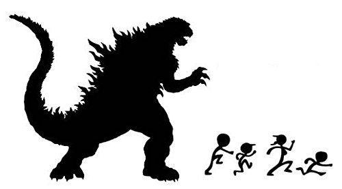 "Godzilla Black VINYL 12"" car Decal graphic Grunge Art Wall"