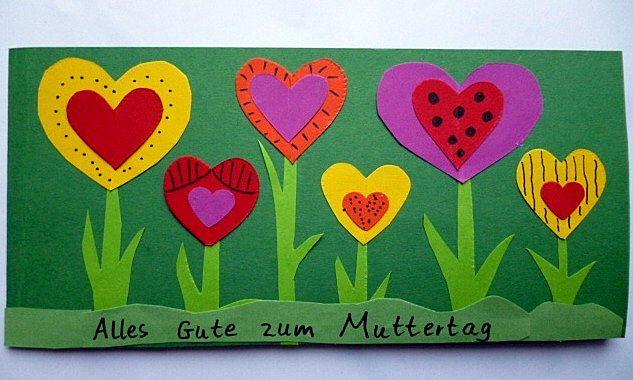 Muttertagskarte mit herzen muttertag basteln meine for Muttertagsgeschenk grundschule