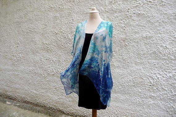 Kimono Jacket, Boho Style, Silk Jacket, Turquoise, Blue Short Kimono, Fashion Kimono, Oversize For wedding, Μother of the Βride