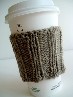Great last-minute gift: Knitted coffee-holder. You could insert ...