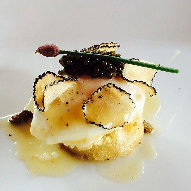 Foie Gras Poached Egg. White bread. Du jura. Iranian osetra. Black truffles.