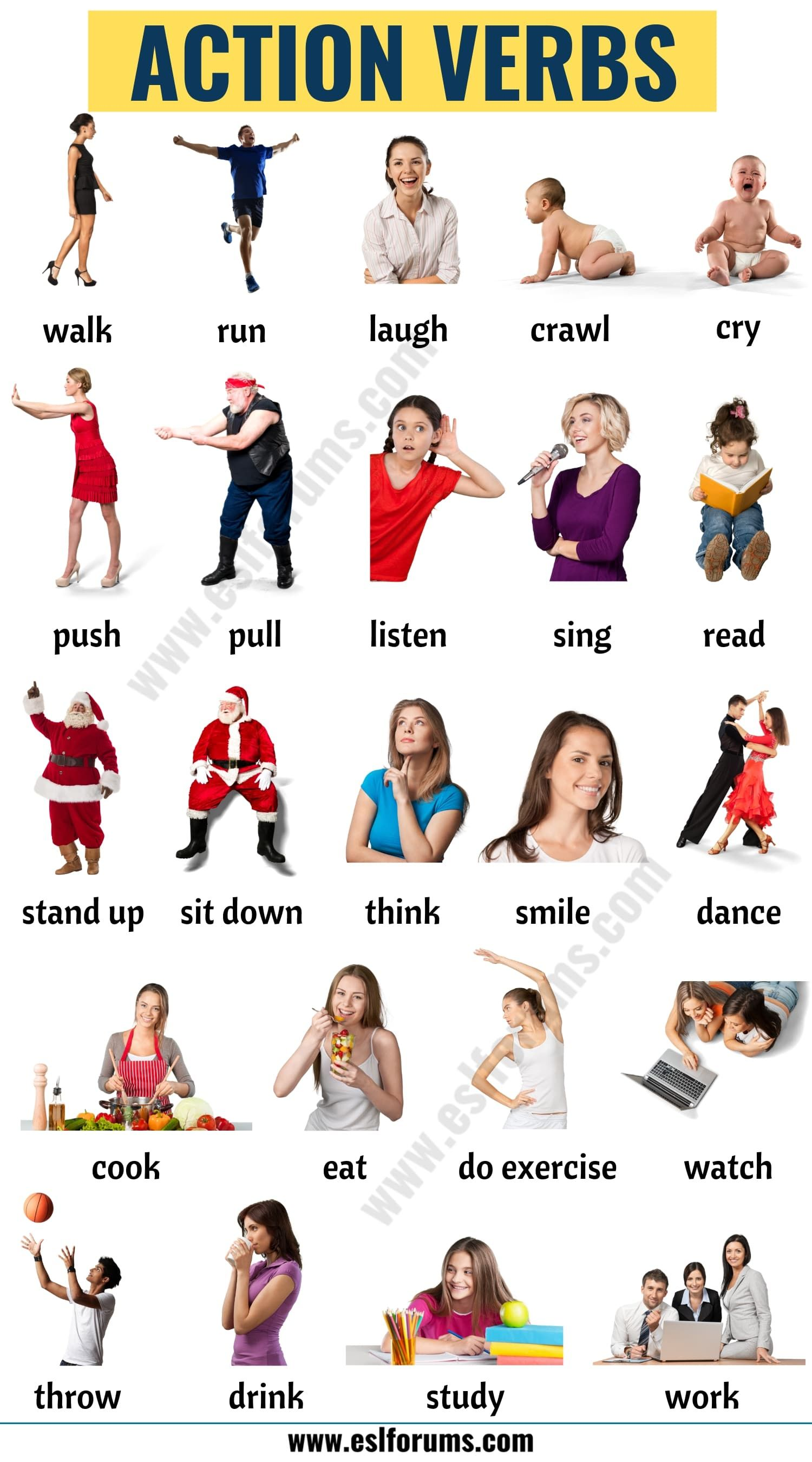 Action Verbs List Of 50 Useful Action Words With The Pictures
