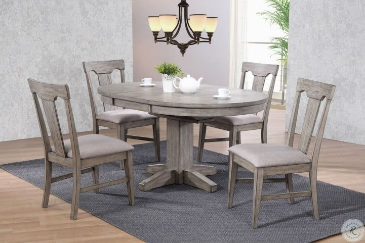 graystone burnished gray round extendable dining table in