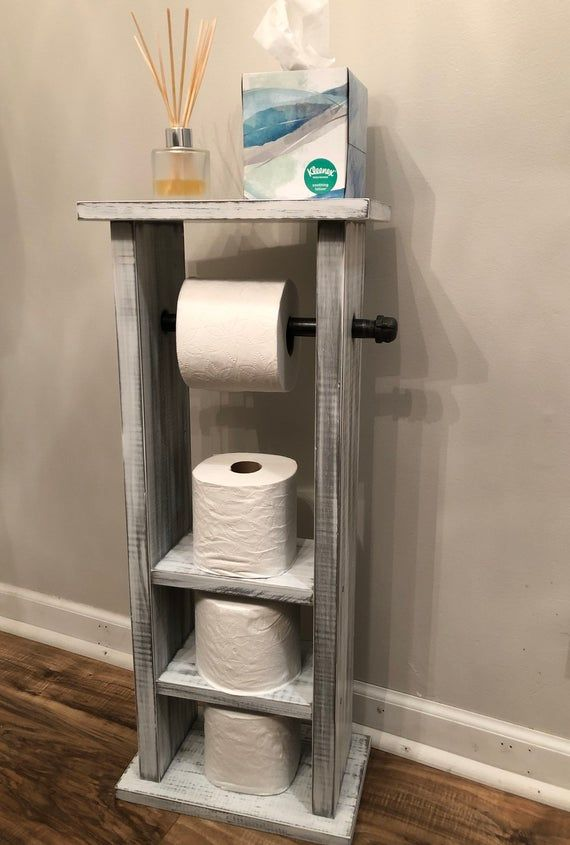 Toilet Paper Holder White Washed With Storage, Pipe Toilet Paper Holder, Bathroom Storage Industrial Modern Toilet Paper Holder with Storage