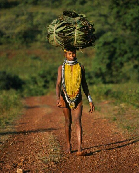Bonda woman going to market, Orissa, India