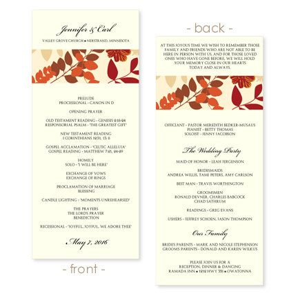 Wedding Program Template Collage Fall by DiyWeddingTemplates - wedding program