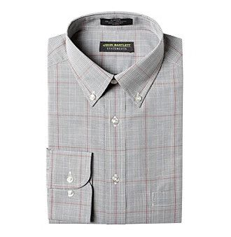 John Bartlett Statements Men's Red And Grey Plaid Long Sleeve Dress Shirt