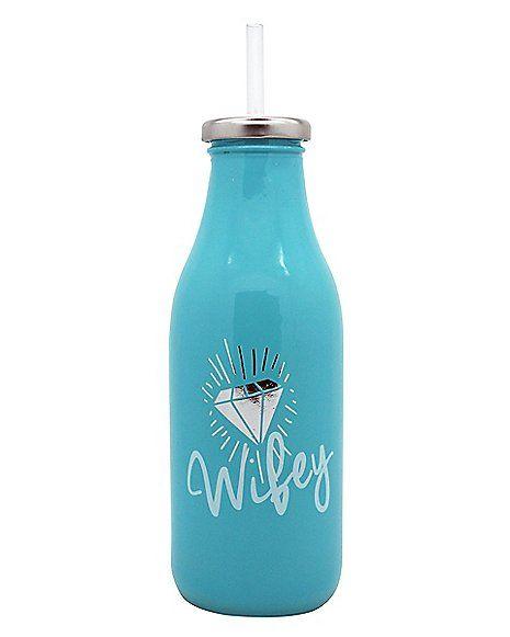 16 Oz Wifey Milk Bottle With Straw Spencer S Milk Bottle Bottle Milk