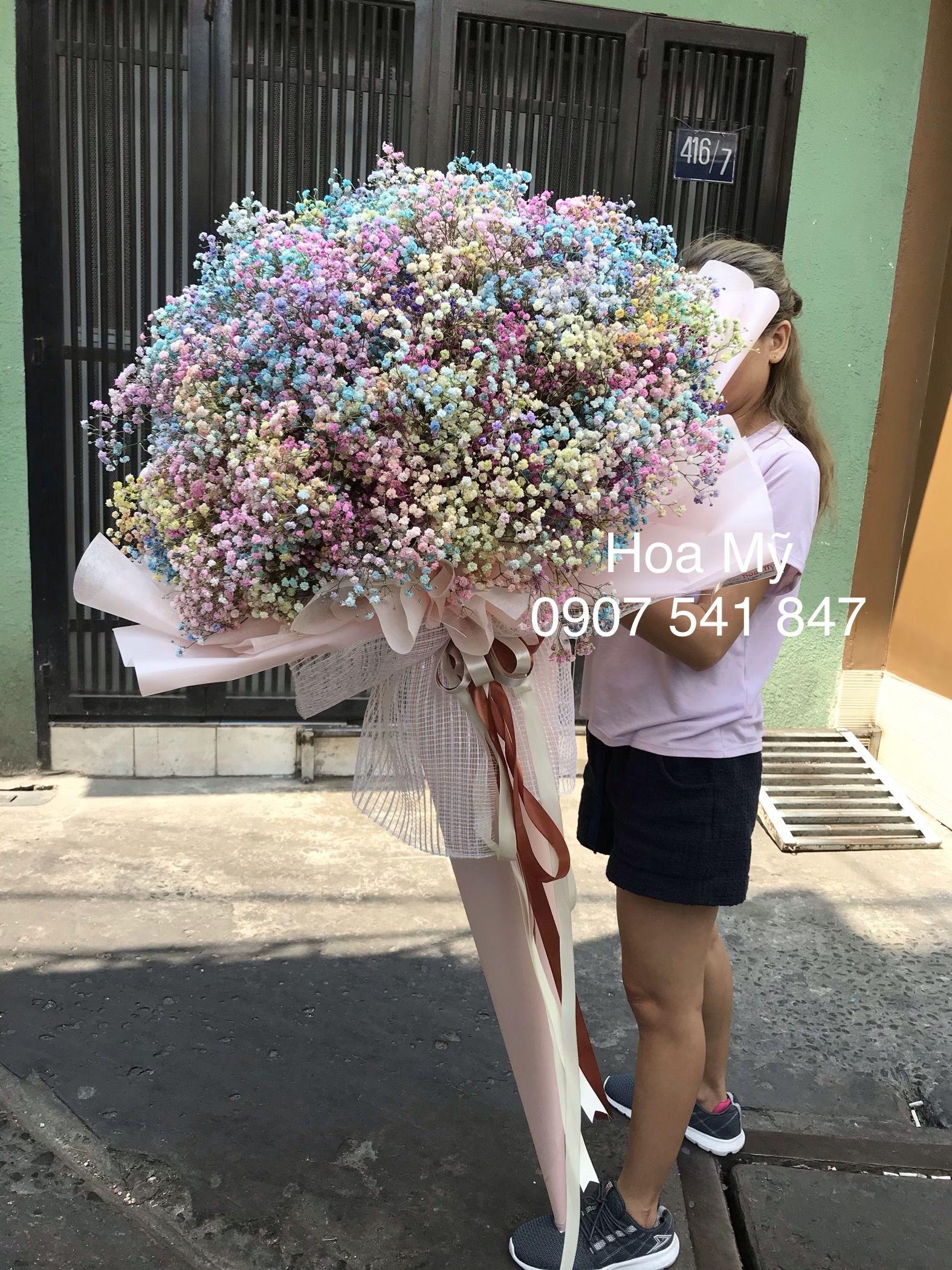 Bó hoa baby bảy màu siêu to khổng lồ giá chỉ 2 triêu trong ...