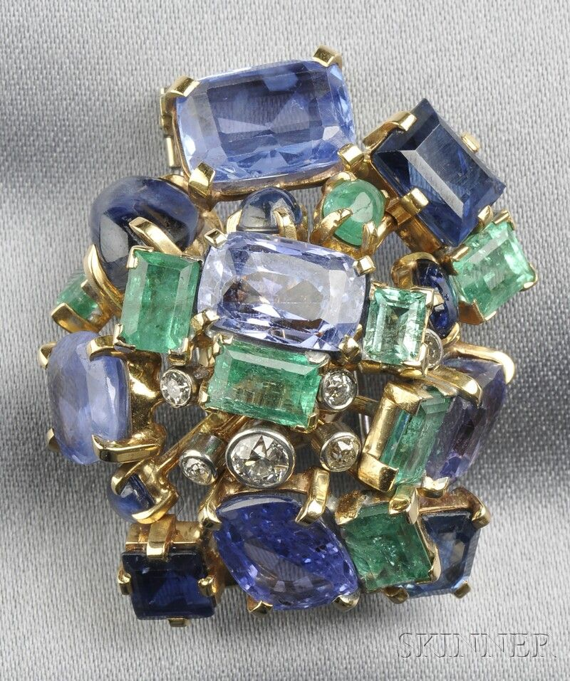 14kt Gold, Sapphire, Emerald, and Diamond Brooch, Seaman Schepps