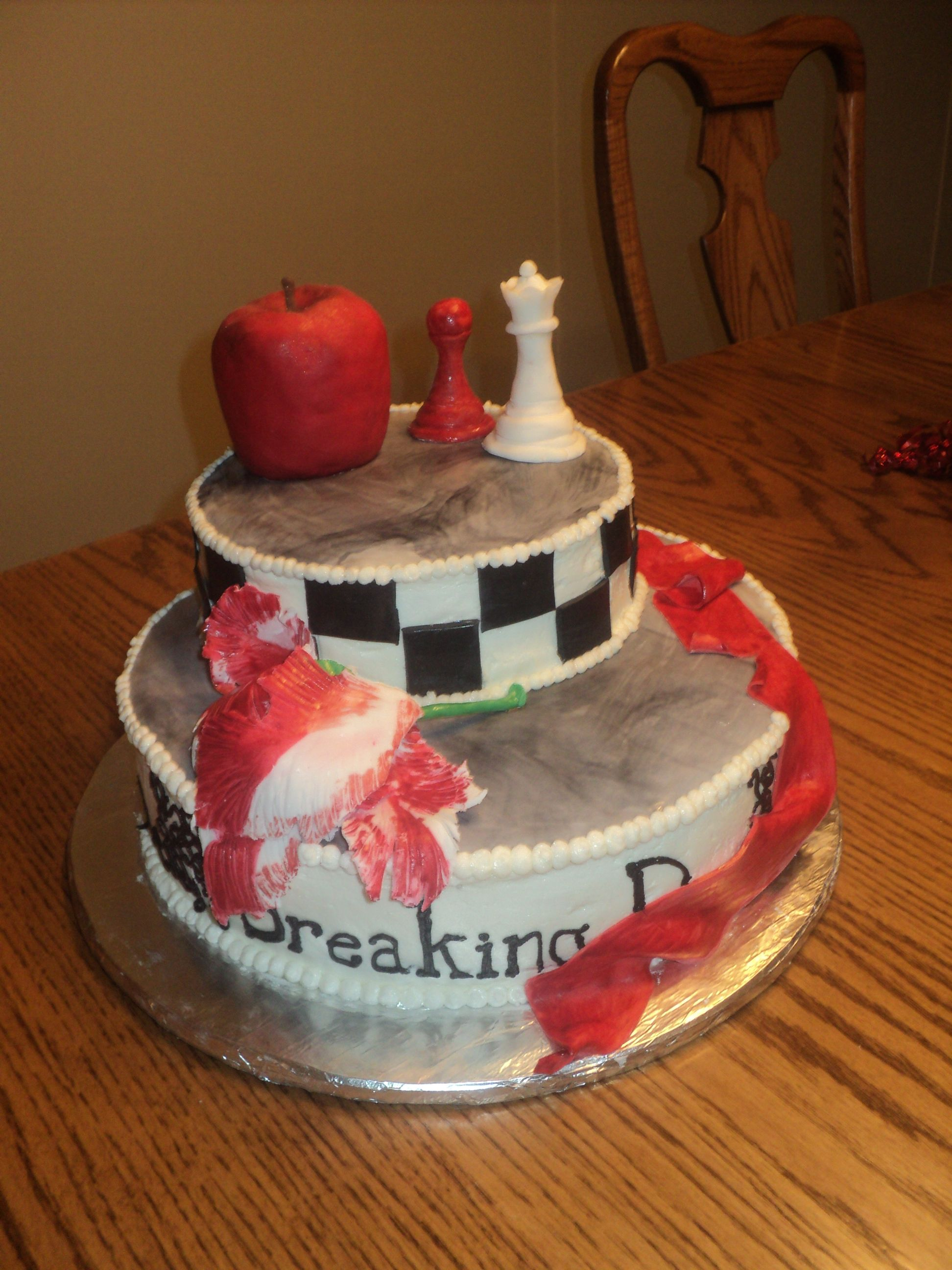 Twilight Saga Cake With Edible Apple And Decorations