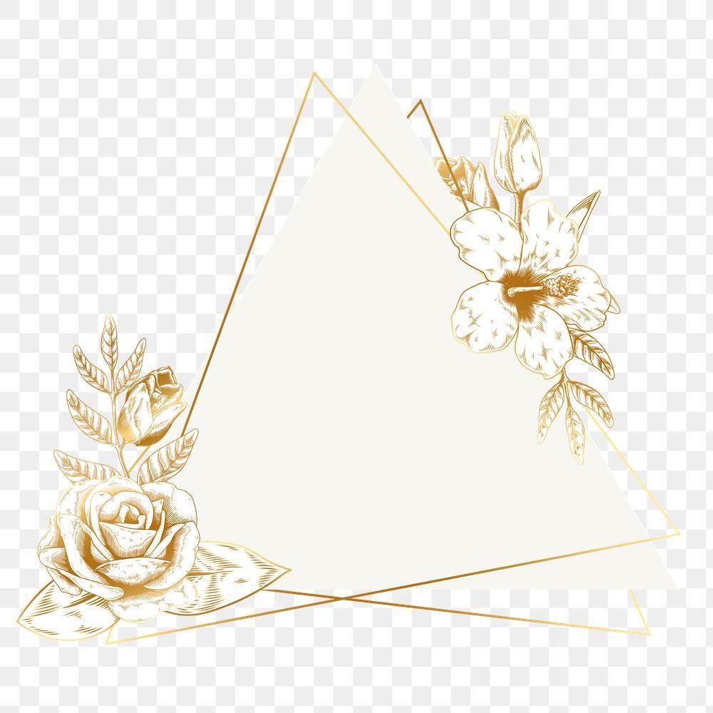 Gold Floral Triangle Badge Design Element Premium Image By Rawpixel Com Aum Badge Design Flower Frame Png Floral Triangle