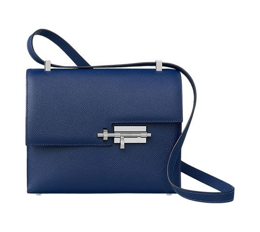 Verrou 21 Hermes clutch bag in Epsom calfskin Palladium plated lock shape  closure Two pockets Measures