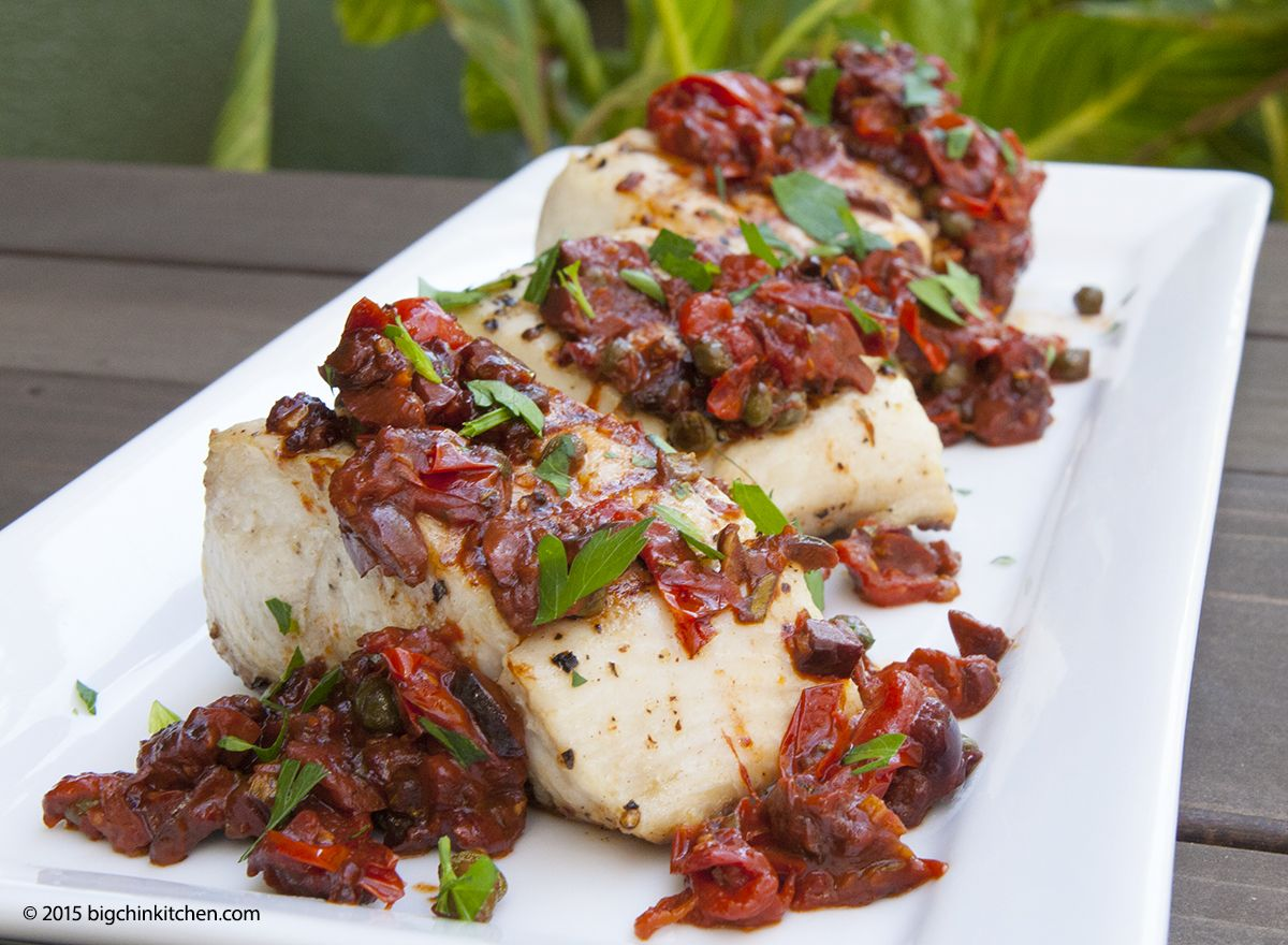 Grilled wahoo with a rustic tomato sauce free paleo for Wahoo fish recipes