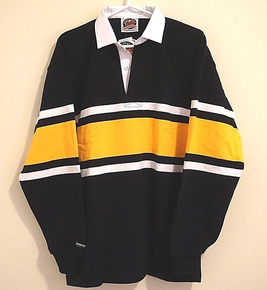 Nwt Barbarian Rugby Wear Yellow Black Polo Paid 5 At A Mom And