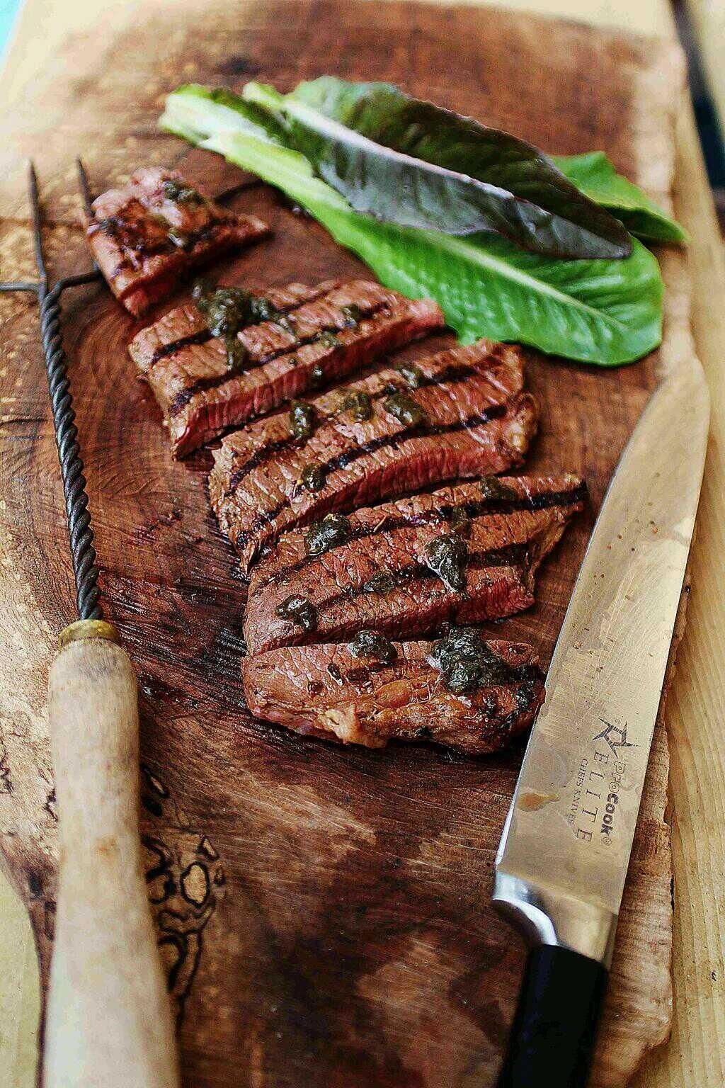 Cowboy steak with chimichurri by Marcus Bawdon.