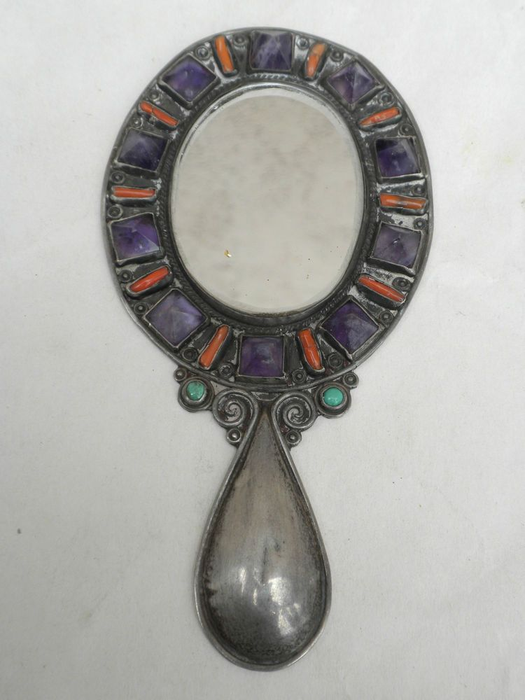 MATL SALAS vintage MEXICAN SILVER AMETHYST CORAL TURQUOISE HAND