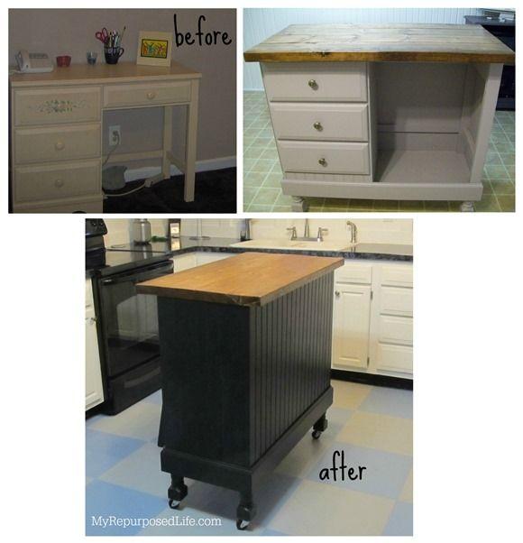 Teen Desk Transformed Into Kitchen Island Craft Station