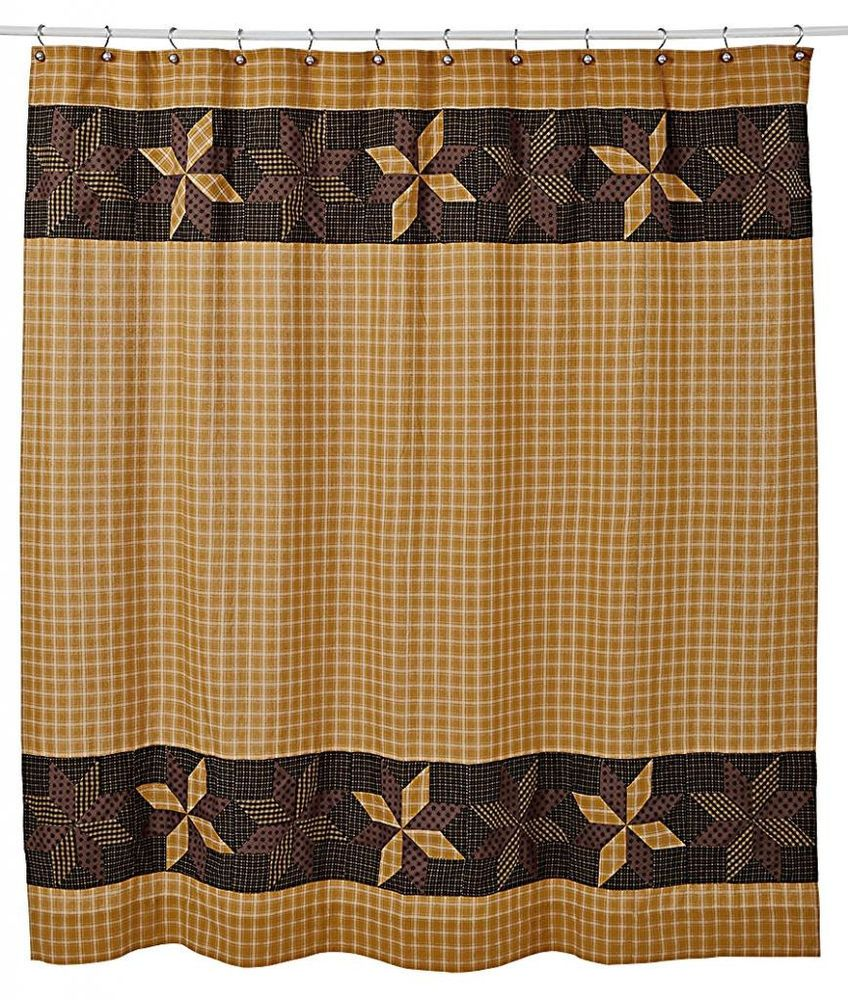 New Primitive Country Mustard Black Check QUILT PATCHWORK STARS Shower  Curtain