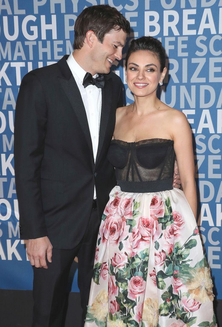 Love Is In The Air Mila Kunis Ashton Kutcher Strapless Dress Formal