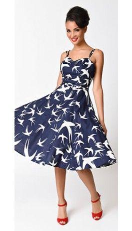 Collectif 1950s Navy Blue & White Simona Swallow Print Swing Dress