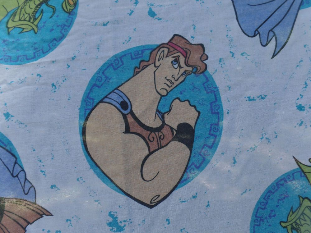 Disney Hercules Twin Bed Fitted Sheet Rare Vintage Fabric 1990 S