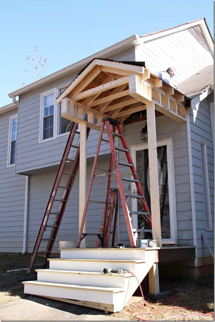 Building A Front Portico Pergola With Roof Rustic