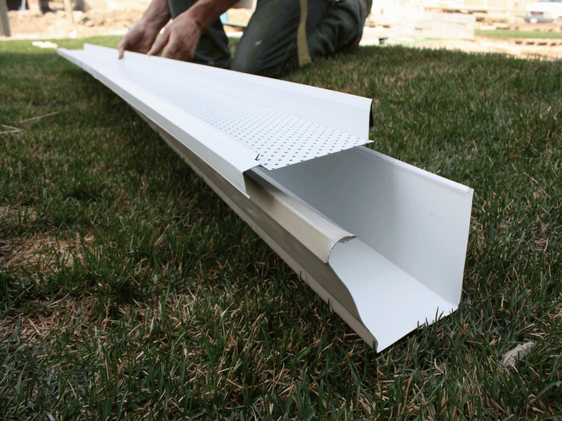Home Depot Gutter Guards Installations with the material Gutter