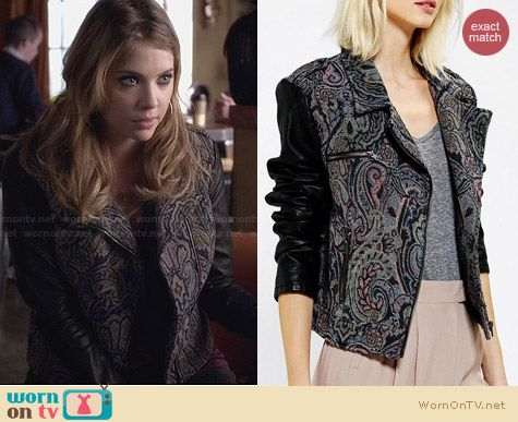 Hanna's paisley jacket with leather sleeves on Pretty Little Liars. Outfit Details: http://wornontv.net/28492 #PLL #fashion