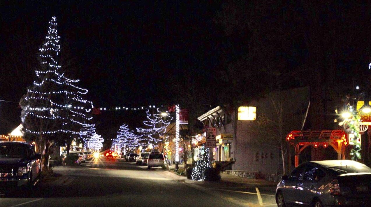 Big Bear Village Christmas.Christmas Lighting Is On At Big Bear Village And Santa Is