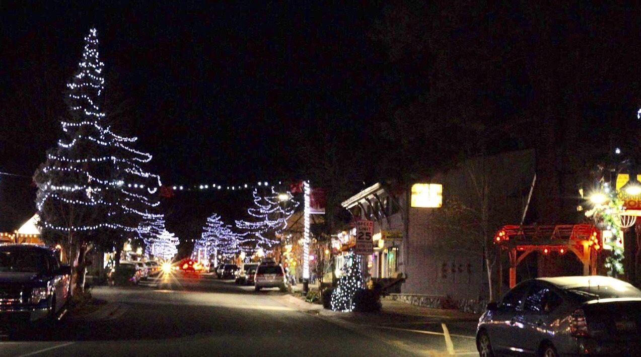 Big Bear Christmas.Christmas Lighting Is On At Big Bear Village And Santa Is