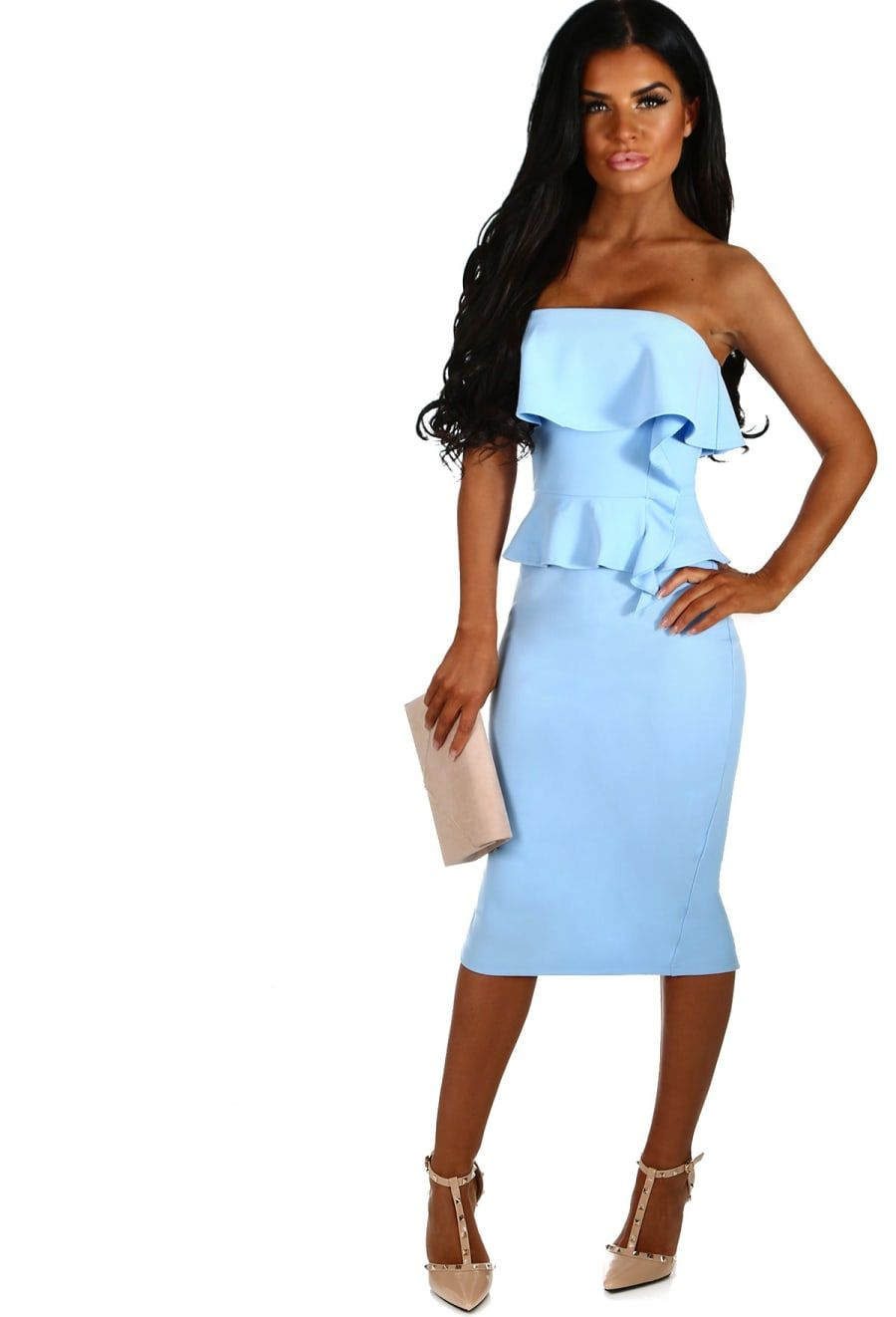 Dating Game Baby Blue Peplum Frill Strapless Midi Dress 8