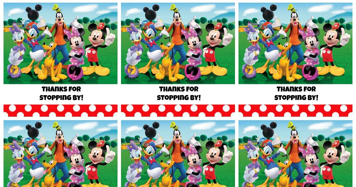 Free printable Mickey Mouse Clubhouse favor tags-Thanks for stopping