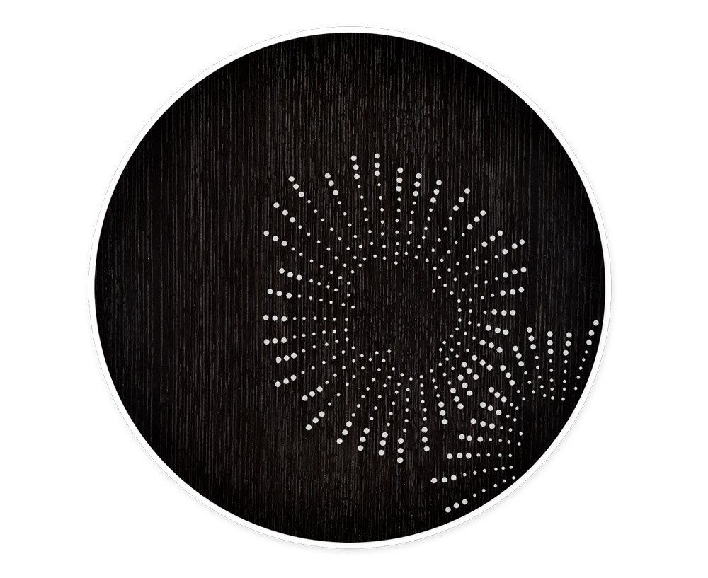Drum table in black oak with star metal inlay