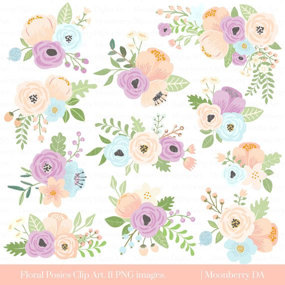 flower clipart floral posies clipart by moonberrydigitalart