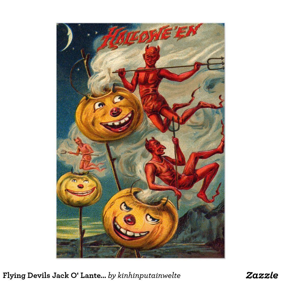 Flying Devils Jack O' Lantern Smoke 5x7 Paper Invitation Card