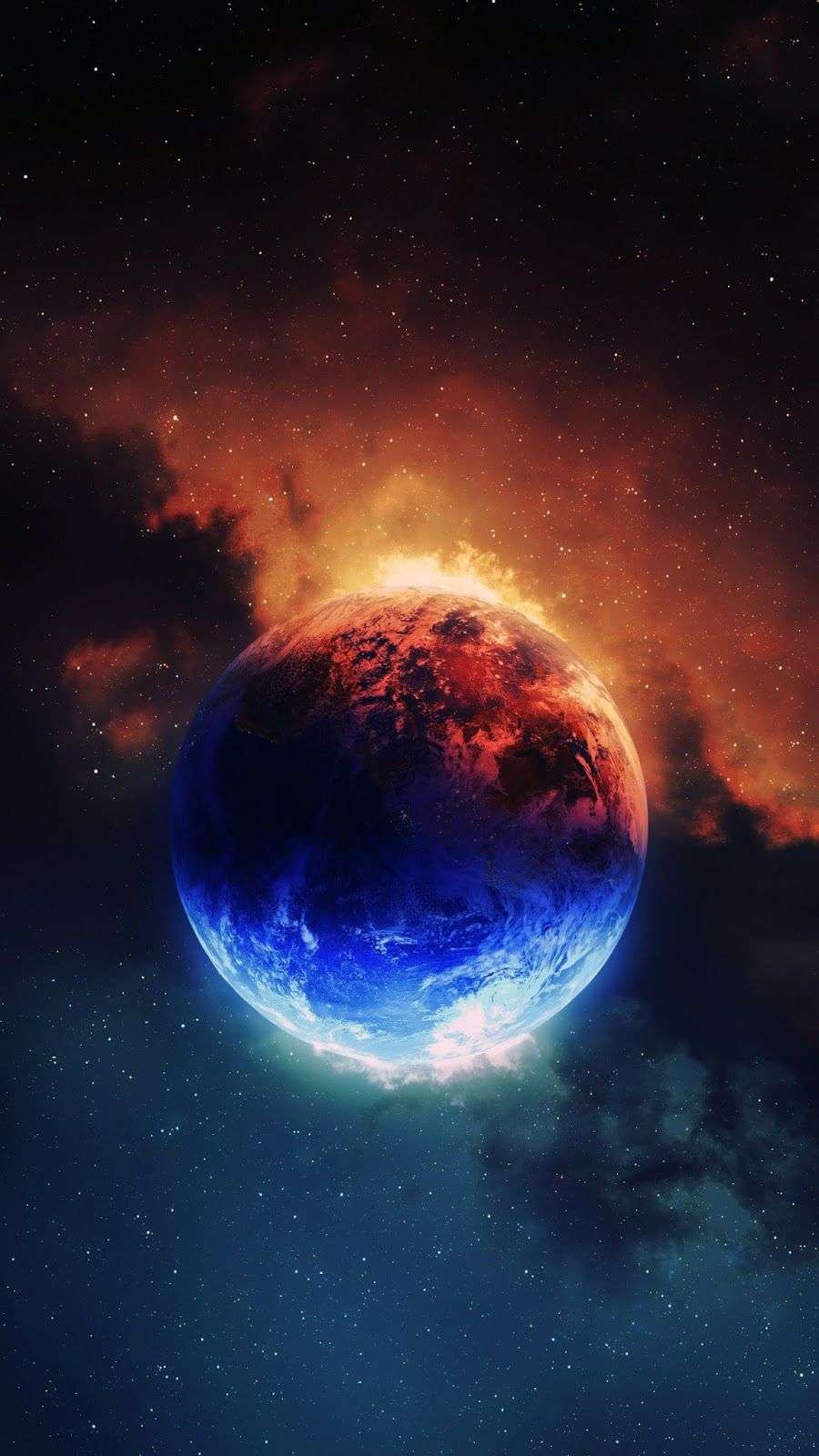 Red And Blue Planets Wallpaper Galaxy Wallpaper Space Art