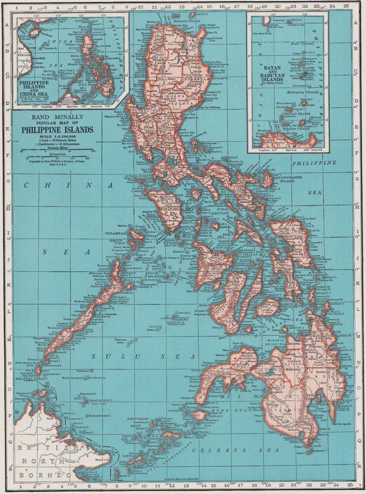 Philippines Islands World Map.1942 Vintage Philippines Map Of The Philippine Islands Gallery Wall