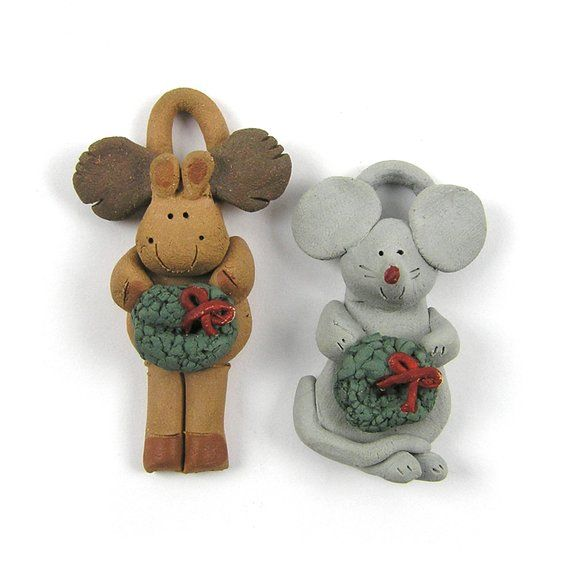 Vintage Clay Ornaments Clay Mouse Clay Moose Tiny Clay Christmas