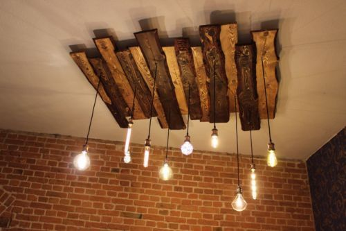 Ceiling lamp wood rustic vintage With Edison Globe Nostalgia Lamp 5 lightsceiling