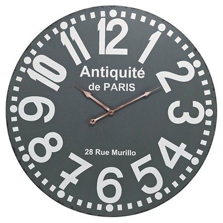 Antiquite De Paris 24 Round Wall Clock Gray Lazy Susan Paris Wall Clock Grey Wall Clocks Wall Clock