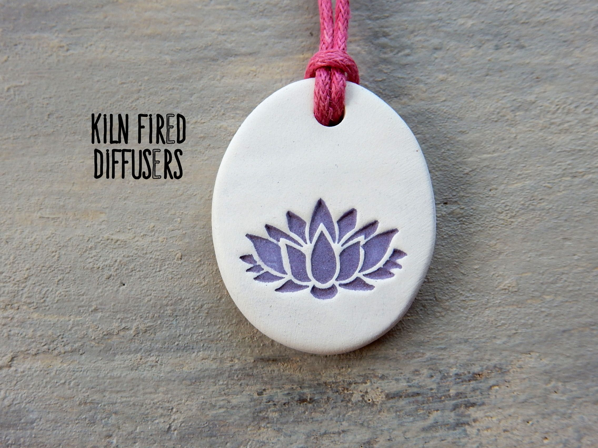Handmade Purple /& Green Lotus Flower Stamped Clay Diffuser Necklace for Essential Oils