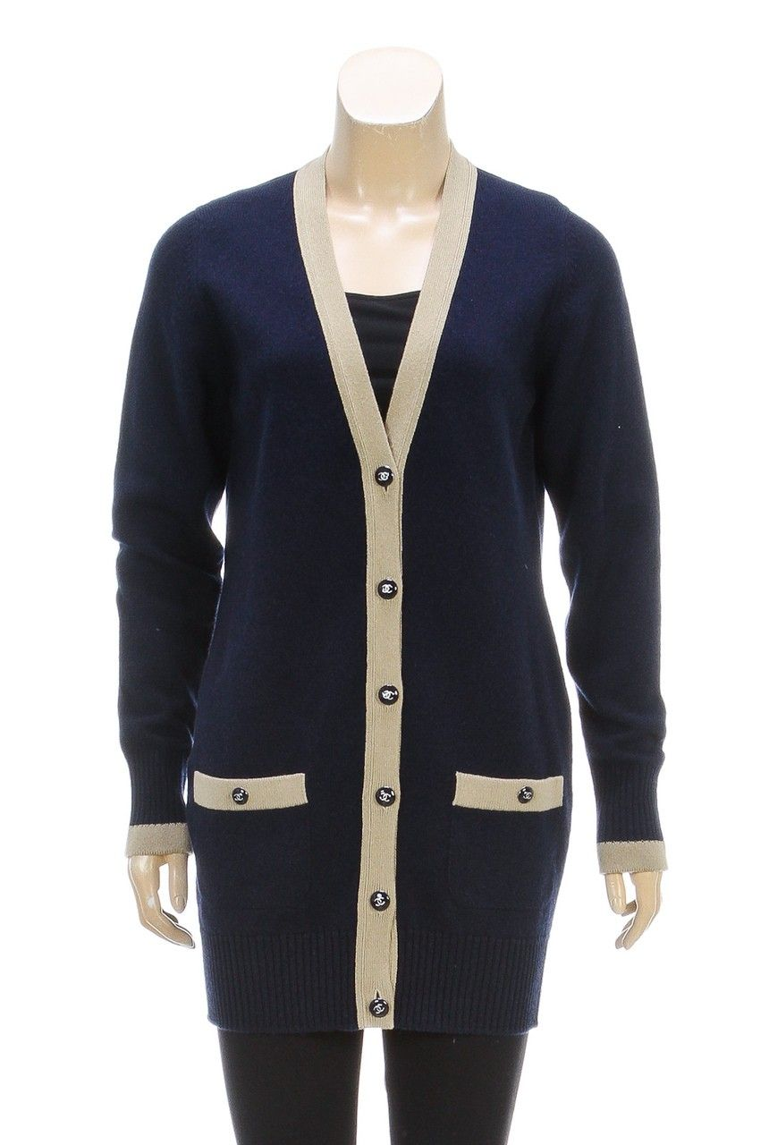 Chanel Navy Blue and Olive Long Sleeve Button Down Cardigan (Size ...