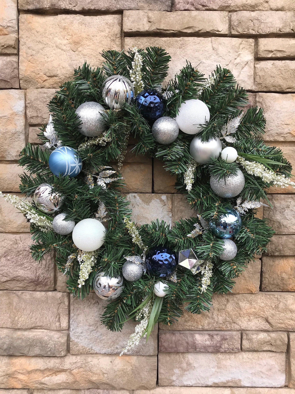 Sparkling Navy Light Blue Christmas Wreath Navy Light Blue White Silver Shatterproof Ornaments Faux Evergreen Holiday Wreath Navy Wreath Christmas Wreaths Evergreen Wreath Blue Christmas