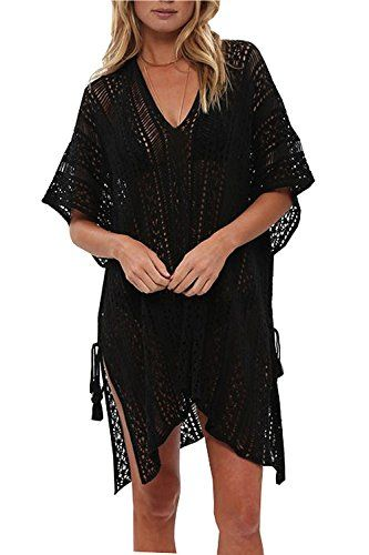 Women V-neck Hollow Out Swimwear Swimsuit Cover Ups Loose Knitted Beach Shirts Women's Clothing