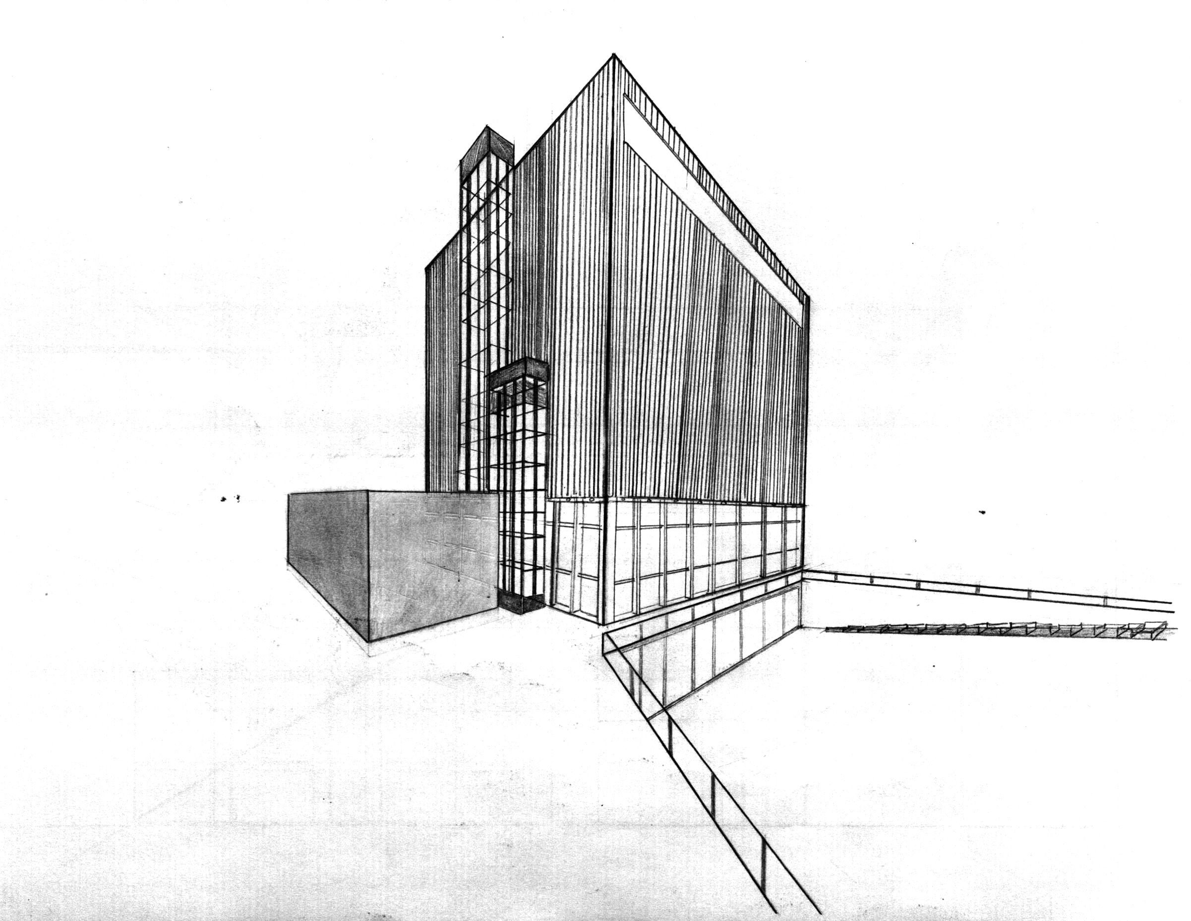 Wyly Theater Study Sketch Architecture Design Art