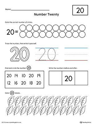 Number 20 Practice Worksheet | Numbers & Counting | Numbers ...