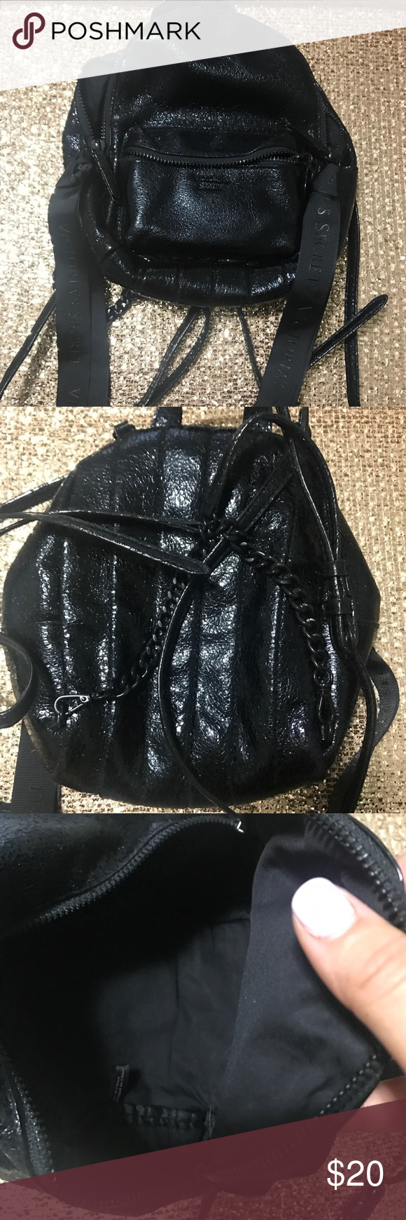 3d834efc4da VS metallic crackle city mini Backpack Metallic black leather Victoria  Secret Backpack. Small in size but fits a lot! Straps are super cute with a  black ...
