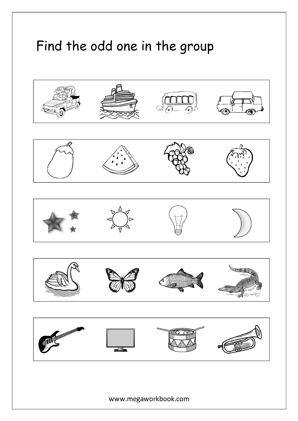 Odd One Out Preschool worksheets, Reading worksheets